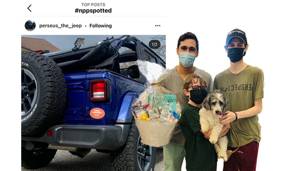 Contest Winners posing with Dog overlayed with winning Jeep Instagram post